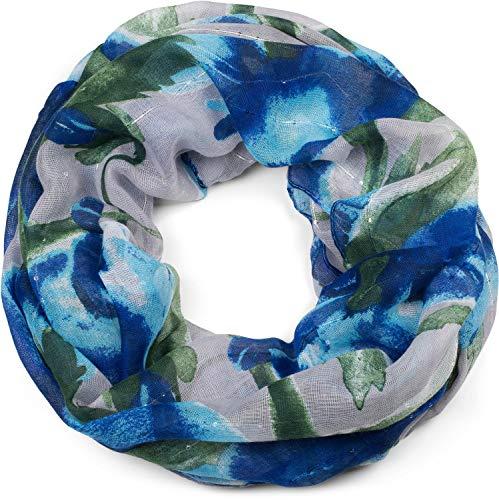 styleBREAKER Damen Loop Schal mit abstraktem Blumen Muster und Pailletten, Schlauchschal, Tuch 01016187, Farbe:Blau-Grün