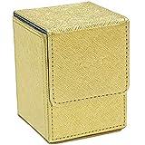 [Cicogna] トレカ デッキケース 勝負運アップ ゴールド 金色 レザー 約100枚収納 縦入れ 縦置き デッキボックス トレーディング カード カードケース ストレージボックス 革
