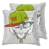 KASABULL 2 Pack Funda de Almohada El Cartel con la Imagen del Retrato del búho con Sombrero Hip-Hop...