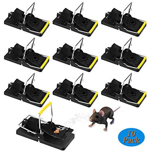 Redmoo Mäusefalle, 10er Set Professionelle Rattenfalle Wiederverwendbar Wirksam Rattenfalle Schlagfalle, Einfaches Aufstellen Mäusemörder Mäusefalle für Haus Garten Nagetierbekämpfung (Schwarz)