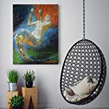 ganlanshu Pintura sin Marco Cartel de Arte confiable de Sirena Pintura Abstracta Lienzo Pintura Arte de Pared decoración de habitación de niña ZGQ5184 60X75cm