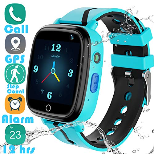 YENISEY Kids Smart Watch GPS Tracker - 2019 Waterproof 12 Hrs Children Smart Watches with 1.4' Touch Screen SOS Phone Call Talkie Walkie Pedometer for Boys Girls 4+ (Blue GPS)