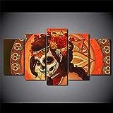 Gmoope Día Mexicano De Los Muertos Cara Esqueleto De Calavera 5 Piezas De Murales, Cuadros De Lienzo, Pinturas Al Óleo, Impresiones, Decoración De Lienzo, Arte De La Pared del Hogar