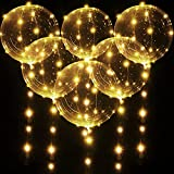 6 Globos BoBo LED Iluminado, Globos de Helio Transparentes con Burbujas Blancas Cálidas de 20 inch/50 cm con Cadena de Luces de 10 Feet para Decoración de Cumpleaños Fiesta Bodas Navidad
