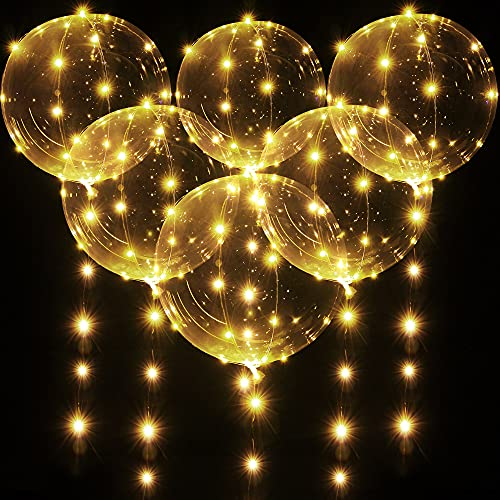 6 Pièces Ballons Lumineux LED BoBo, 20 Inch/50 cm Bulle Blanche Chaude Ballons d'Hélium Transparents avec Guirlandes Lumineuses de 10 Pieds pour Décoration de Fête Noël Mariage Anniversaire