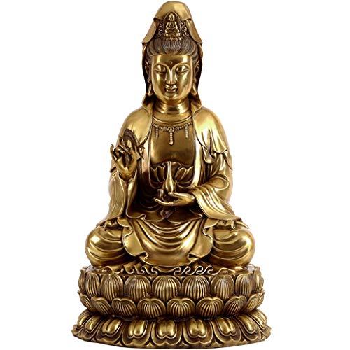 LJXLXY Feng Shui Dekoration Guanyin Buddha Statuen Kupfer Meditation auf Lotus Hauptdekoration Höhe 8