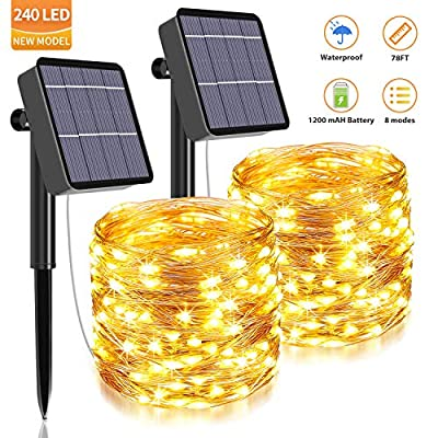 Solar String Lights Outdoor,240 LED &78.7 Ft Ultra Long Starbright Solar Light with 1200 Mah Battery Backup,8 Modes Solar Fairy Lights for Garden Patio Yard Party Decoration (2Pack-Warm White)