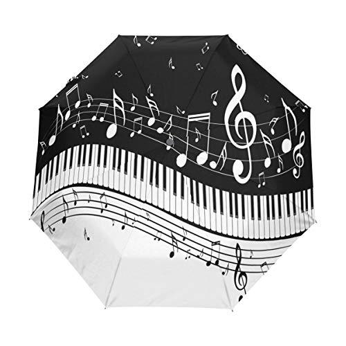 Bigjoke Regenschirm, 3 faltbar, automatischer Öffnung, mit Musiknoten, Klavier, winddicht, Reise-Regenschirm, kompakt für Jungen, Mädchen, Männer, Frauen