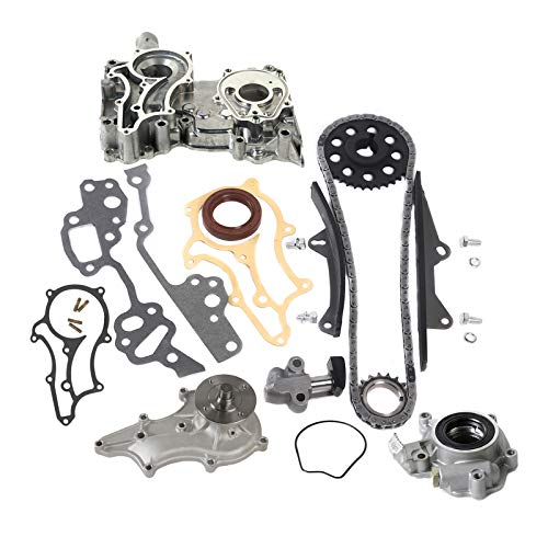 MOCA New Timing Chain Kit(Steel Guides) & Water Oil Pump & Timing Cover for 1985-1995 for TOYOTA 4Runner Pickup Celica Celica 22R 22RE 22REC