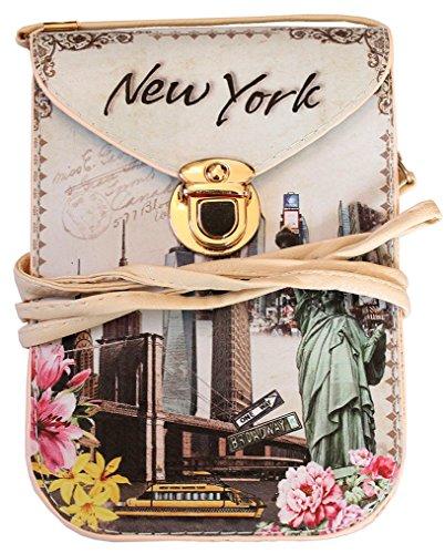NEW YORK Souvenir Cellphone Travel Messenger Crossbody Bag Flower Pink