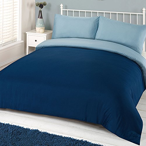 Dreamscene Parure de lit Drap-housse en microfibre, toucher doux, bleu marine, Double