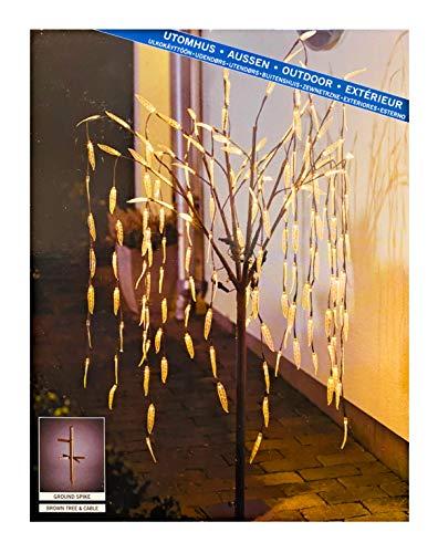RB&G LED Dekoration Trauerweide Verschiedene Größen mit transparenten Blättern/für Außen (IP44) / 24V Außentrafo (130 cm / 180 Dioden)