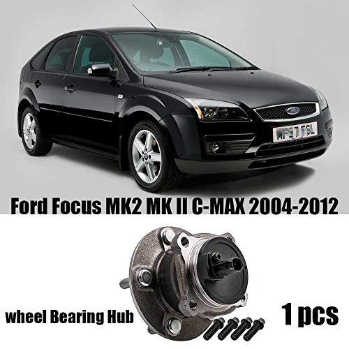 NHJUIJ Radlager HUB Kit hinten Fit für Ford Focus MK2 MK II C-MAX 04-12 Montage ABS Sensor 1230942 1230942 1309814 1230942 1355129,Metallisch