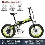 LANKELEISI X2000 20x4.0 Pulgadas Fat Tire 48V1000W 12.8AH Marco de aleación de Aluminio Neumático Bicicleta eléctrica Plegable para Adulto para montaña/Playa/Nieve (Verde +1 batería Extra)