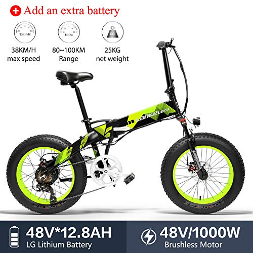 LANKELEISI X2000 20 x 4,0 Pouces Gros Pneu 48V 1000W 12.8AH Cadre en Alliage d'aluminium Tire vélo électrique Pliable pour Adulte Femme/Homme pour Montagne/Plage/Neige (Vert + 1 Extra Batterie)