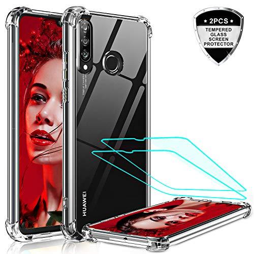 LeYi Cover per Huawei P30 Lite Custodia con Vetro Temperato [2 Pack], Nuovo Silicone Trasparente Hard PC Bumper TPU Protettiva Smartphone Case per Custodie Huawei P30 Lite / P30 Lite New Edition