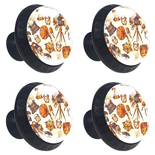 Perillas redondas para aparador (4 piezas) – Colorido decorativo floral cajón manija decoración del hogar Hardware Perillas de tirar Dispositivos Retro CD Teléfono Reloj Cámara