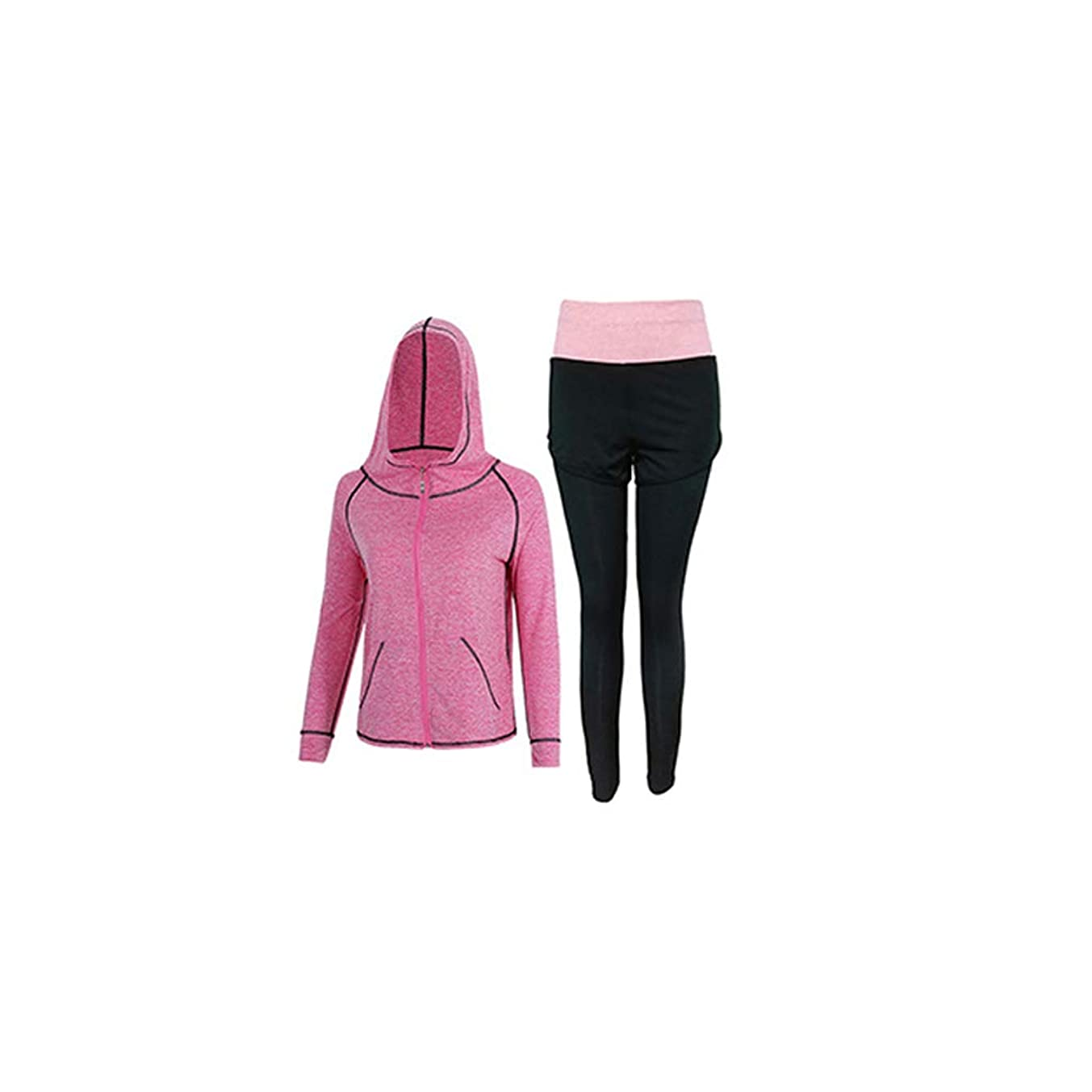 満了第四懐女性のフィットネス服ツーピース速乾性ヨガの服スポーツウェアスーツジムランニングスポーツウェアフィットネス服カジュアルスポーツウェア (Color : 2, Size : S)