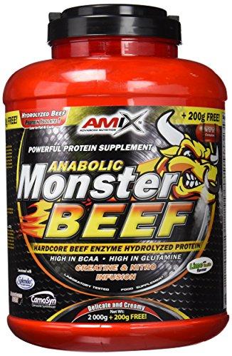 Amix - Monster Beef Protein - Suplemento Alimenticio - Mejora del Rendimiento - Proteína de Suero - Glutamina en Polvo - Nutrición - Proteína de Ternera - Sabor Lima y Vainilla - Bote de 2 Kg