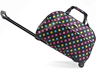 Travel Holdall Bags Trolley Handbag Hand Luggage Ladies With Wheels Holiday lightweit (Color : Multi-colored, Size : Small)