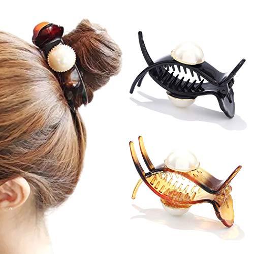 Runmi Haarspangen mit Perlen, schwarz, Haarspangen, Haarklammern, Kristall-Haarschmuck für Frauen und Mädchen (2 Stück)