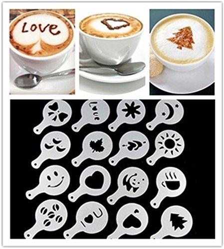 Tinymuse 16PCS Fashion cappuccino Coffee barista Stencils template Strew Pad Duster spray