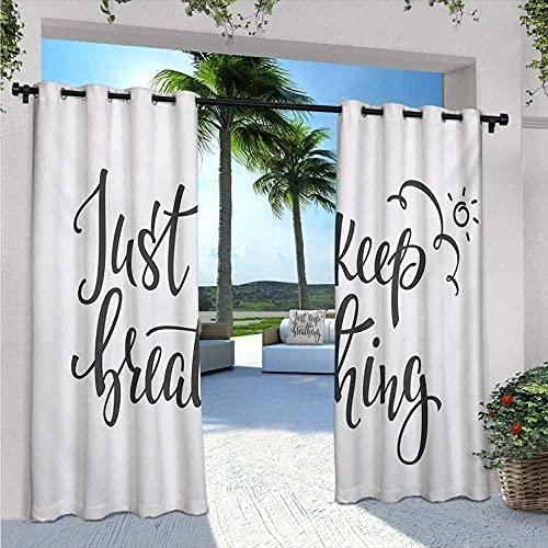 "Just Breathe - Cortinas impermeables para cenador con texto en inglés ""Just Breathe "", para dormitorio, sala de estar, porche, pérgola, ancho 72 x largo 84 pulgadas, gris carbón blanco"