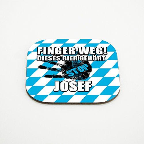 Untersetzer für Gläser mit Namen Josef und schönem Motiv - Finger weg! Dieses Bier gehört Josef