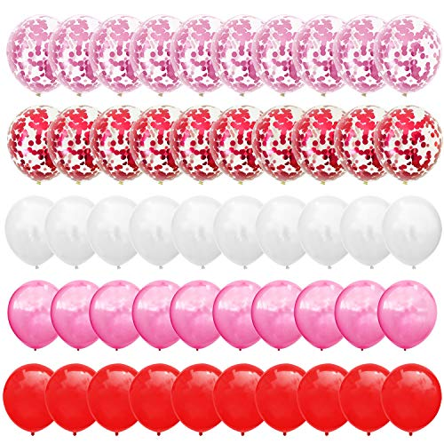 Confetti Balloons Set - Red & Pink & White Balloons