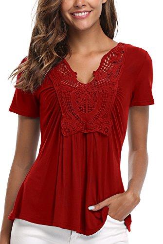 MISS MOLY Mujer Blusa de Mangas Cortas y Dobladillo con Ribete Cintura impermeabilizada con Blusa de Gasa Rojo Vino - L