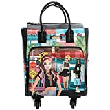 Nicole Lee Women's Graphic Pink Rolling Tote Bag with 4 Spinner Wheels and Electronic Compartment, Diana Tells Story, One Size