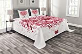 ABAKUHAUS Liebe Tagesdecke Set, Liebe ist in dem Luftballon, Set mit Kissenbezügen Waschbar, für Doppelbetten 220 x 220 cm, Pink