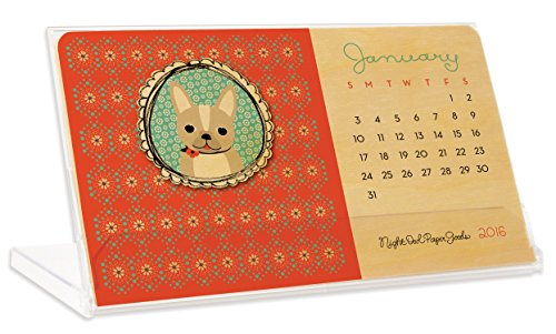 Night Owl Paper Goods 2016 - Calendario de escritorio de madera real