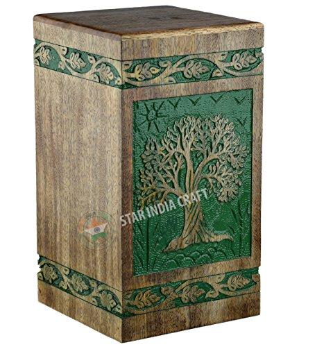 STAR INDIA CRAFT Urne funéraire ronde en bois pour les cendres humaines pour adultes, urne funéraire antique pour adultes, boîte souvenir en bois, boîte à souvenir, urne en bois (11,25 x 6,25 x 6,25 cm) | 250 cu/in