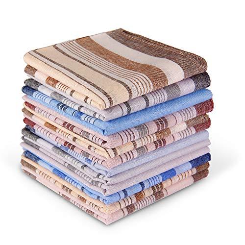 Men's Cotton Handkerchiefs, Ohuhu 12 Pack 100% Pure Cotton 4 Color Pocket Square Hankies/Pocket...