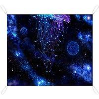 海海クラゲの下の宇宙銀河 Jellyfish レジャーシート ピクニックマット 避難防災用 防水 折り畳み キャンプ アウトドア 室内外兼用 携帯便利 200×145cm