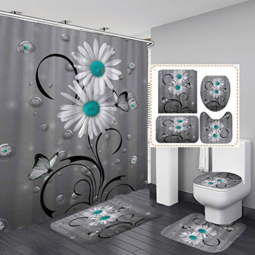 Fashion_Man 16PCS/Set Grey Teal Bubble Daisy Butterfly...