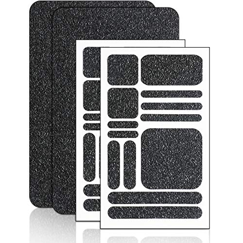 4 Pieces Grip Phone Tape Decals Anti-Slip Rubber Textured Phone Tape Adhesive Traction Grip Decal Stickers for Phones Tablet Computer Gaming Cases (Black)