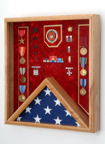 All American Gifts Military 3x5 Flag & Medal Display Case - Shadow Box for 3x5 Flag (USMC Emblem/Red Velvet)