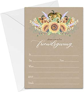 Thanksgiving Dinner Invitations (15 Pack) Fill in Blank Invites and Envelopes Friendsgiving Party Fall Events