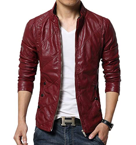 chouyatou Men's Cool Stylish Slim Fit Stand Collar Lightweight Bomber Faux Leather Jacket Coat (Medium, Wine red)