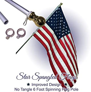 Flag Pole - 6 Foot Silver Brushed Aluminum No Tangle Spinning Flag Pole Built Tough and Beautiful to Fly Grommeted or Sleeve Flags Proudly in Residential House or Commercial Settings