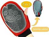 PurrCave 3 in 1 Haustier Fellpflege Handschuh | 2-Seitige Bürste: Tierfreundliches Silikon + Mikrofaser | Massage u. Entfernung von losem Haar | Tierhaarentferner Möbel Sofa | Hund Katze