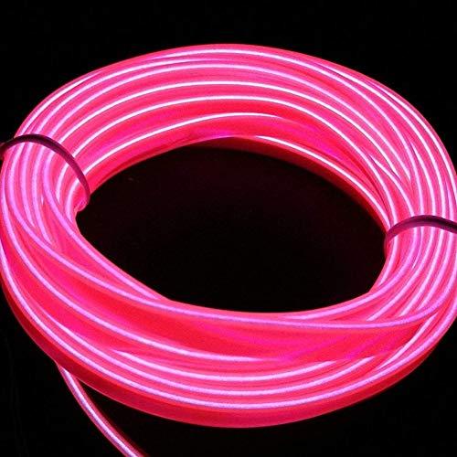 Luces LED flexibles USB para coche Kit 5 m / 16 ft interior EL cable de tira de tubo cuerda neón resplandor línea decoración luces neón rosa