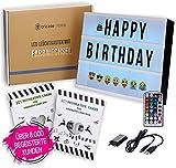 LED Lightbox mit Buchstaben – A4 Leuchtkasten mit Farbwechsel, MEGA Set inkl. 173 Buchstaben, 85...