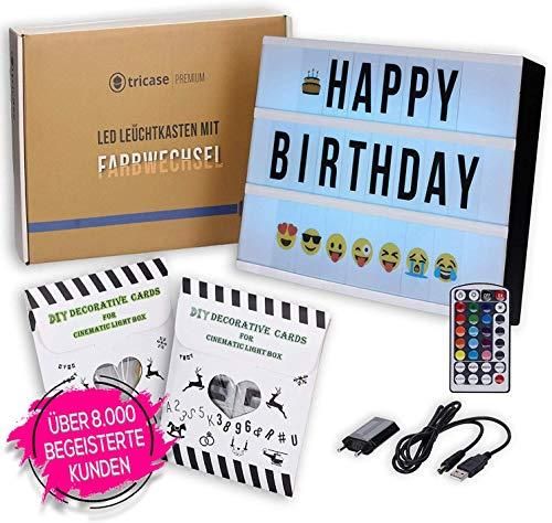 LED Lightbox mit Buchstaben – A4 Leuchtkasten mit Farbwechsel, MEGA Set inkl. 173 Buchstaben, 85 farbige Emojis, 1,5m USB Kabel, Netzteil, Fernbedienung mit Dimmer, Perfektes Deko Geschenk (standart)