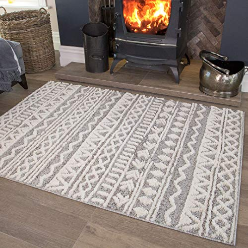 Large Scandi Grey Cream Tribal Geometric Area Rug Nordic Aztec Moroccan Cream Plush Living Room Bedroom Hallway Rugs 160cm x 230cm