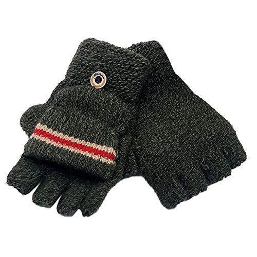 EODNSOFN 2020 Children Kids Fingerless Gloves Striped Half Finger Knitted Mittens Winter Soft Unisex Basic Gloves Girls Boys Guantes (Color : F)
