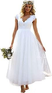 Women Lace Cap Sleeves Bridal Gowns Tea Length Short Beach Wedding Dresses for Bride WD0034
