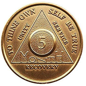 5 Month Bronze AA (Alcoholics Anonymous) - Sober / Sobriety / Birthday / Anniversary / Recovery / Medallion / Coin / Chip